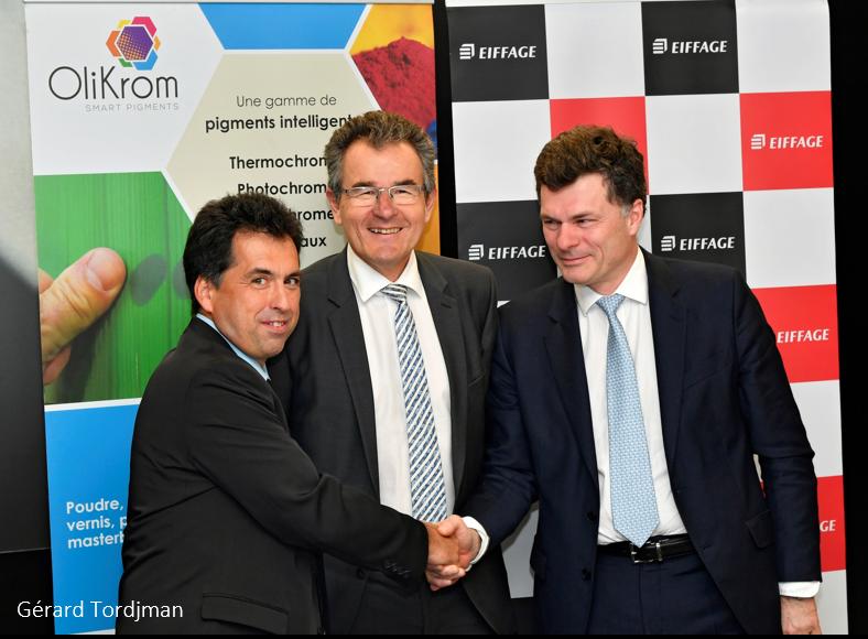Photo : Benoît de Ruffray, Président Eiffage (à droite) Laurent Girou, Directeur Général Eiffage (au centre) Jean-François LETARD, Président OliKrom (à gauche)